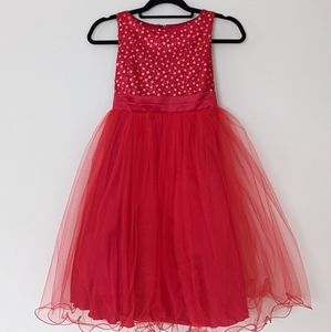 Sequin and Tulle Red Dress